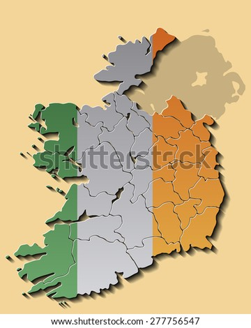Map of Republic of Ireland with Flag - stock vector
