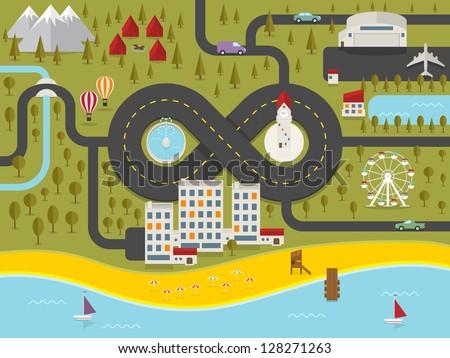 Map of resort town. Vector illustration. - stock vector