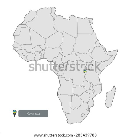 Map of Rwanda with an official flag. Location on the continent of Africa - stock vector