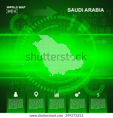 Map Of Saudi Arabia,Abstract Green background, pixel vector illustration - stock vector
