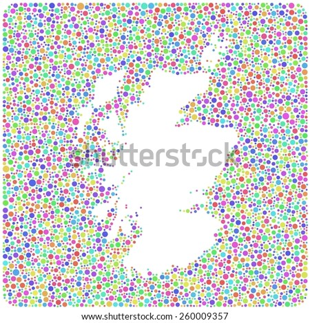 Map of Scotland - UK - into a square icon. Mosaic of harlequin bubbles - stock vector
