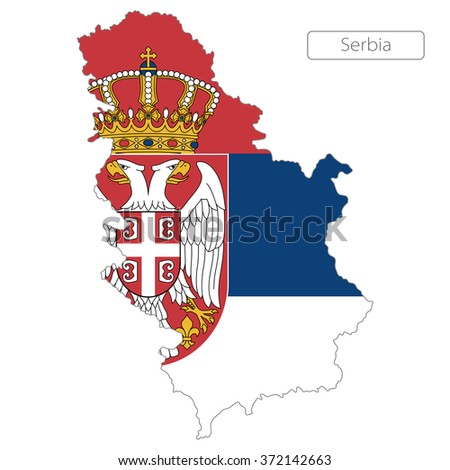 map of Serbia with the flag. Europe  - stock vector