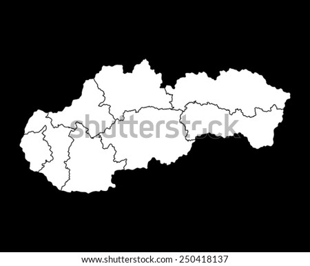 Map of Slovakia - stock vector