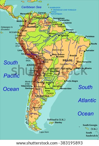 Map of South America. Names of the countries, the cities and the rivers are on isolated layers. Vector illustration - stock vector