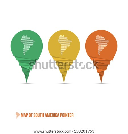 Map of South America Pointer - Vector Illustration - Infographic Element - stock vector