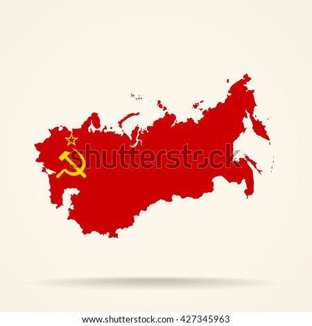Map of Soviet Union in Soviet Union flag colors - stock vector