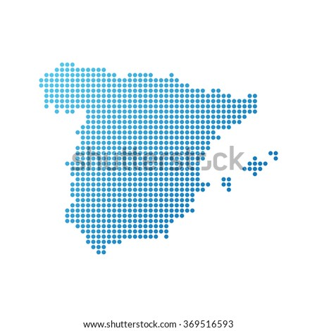 Map of Spain, Vector Icon in blue modern style - stock vector