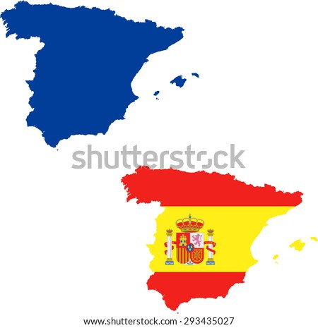 map of Spain with flag - stock vector