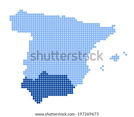 Map of Spain with stylized map of Andalusia made from blue dots (vector) - stock vector