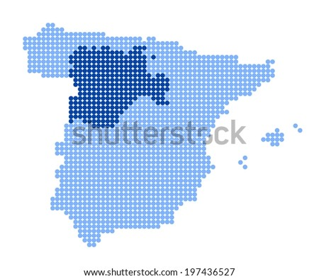 Map of Spain with stylized map of Castile and Leon made from blue dots (vector) - stock vector