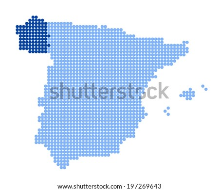 Map of Spain with stylized map of Galicia made from blue dots (vector) - stock vector