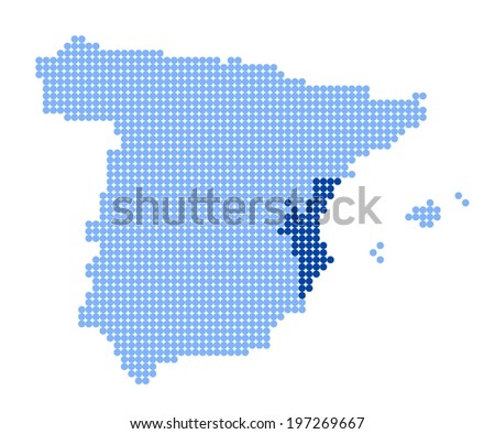 Map of Spain with stylized map of Valencia (Valencian Community) made from blue dots (vector) - stock vector