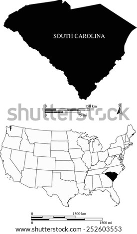 Map of state of South Carolina along with USA map and scale - stock vector