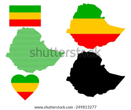 Map of State of the Federal Democratic Republic of Ethiopia raznÃ?Â??h species on a white background - stock vector