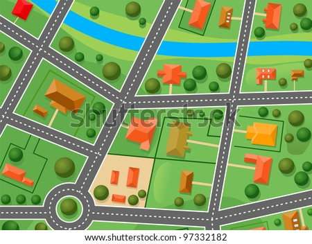 Map of suburb district for sold real estate design. Jpeg version also available in gallery - stock vector