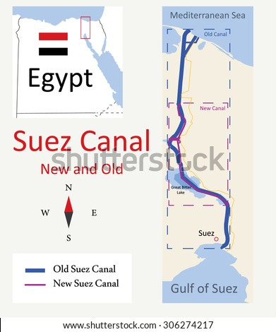 Map of Suez Canal New and Old - stock vector