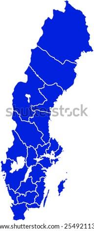Map of Sweden - stock vector