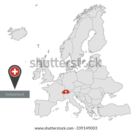 Map of Switzerland with an official flag. Location in Europe  - stock vector