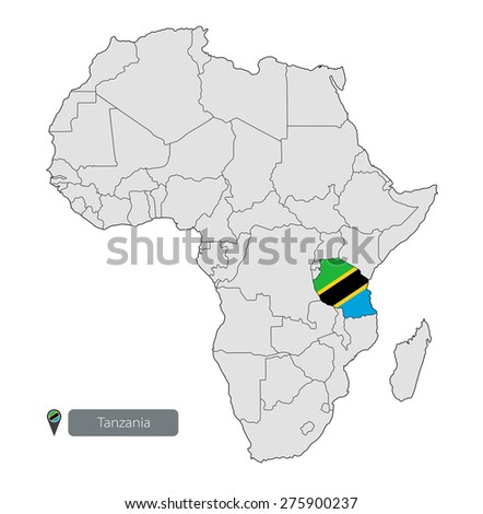 Map of Tanzania with an official flag. Location on the continent of Africa - stock vector