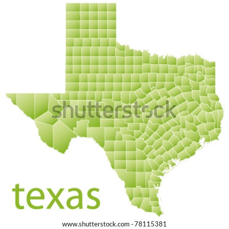 map of texas state, usa - stock vector