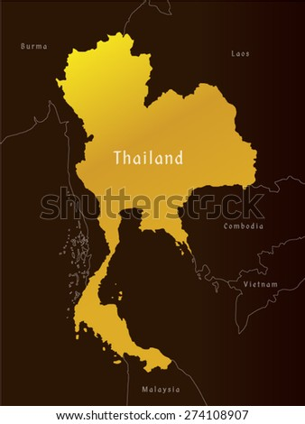 map of thailand  administrative, vector - stock vector