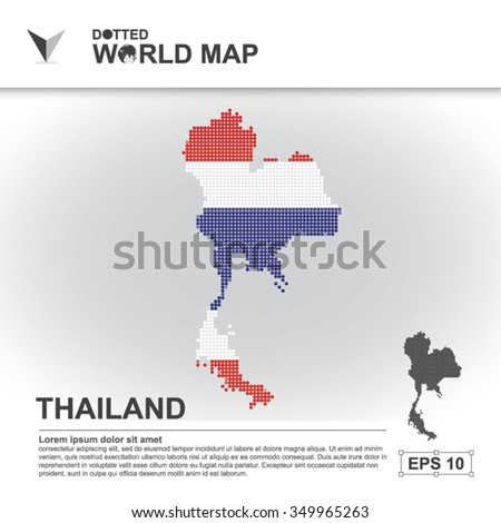 Map Of Thailand Dotted Vector - stock vector