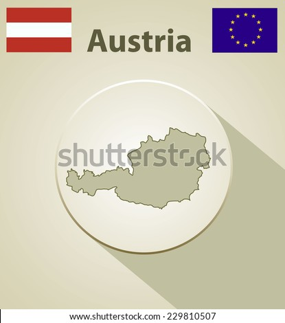 Map of the Austria Including: flag of Austria And European Union. - stock vector