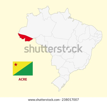 map of the Brazilian State acre with flag - stock vector
