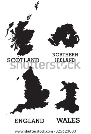 Map of the British Isles, UK, Great Britain, Black solid separated regions. - stock vector