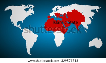 Map of the five-year plan to build an Islamic state - stock vector