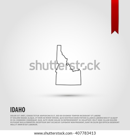 Map of the Idaho state. Vector illustration design element. Flat style design icon. - stock vector