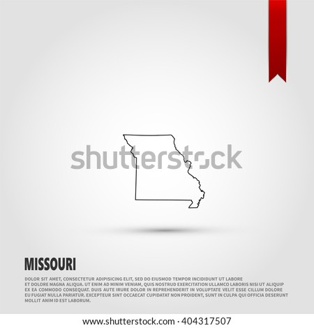 Map of the Missouri state. Vector illustration design element. Flat style design icon. - stock vector