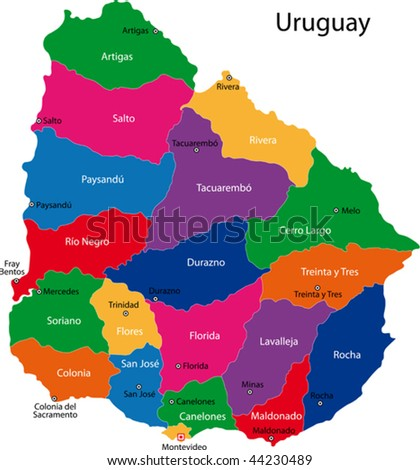 Map of the Republic of Uruguay with the departments colored in bright colors and the main cities. - stock vector