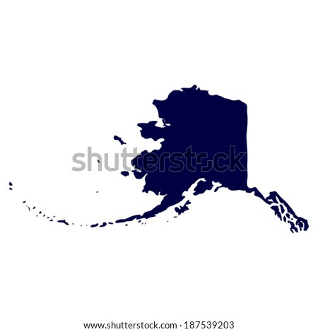 Map of the U.S. state of Alaska  - stock vector