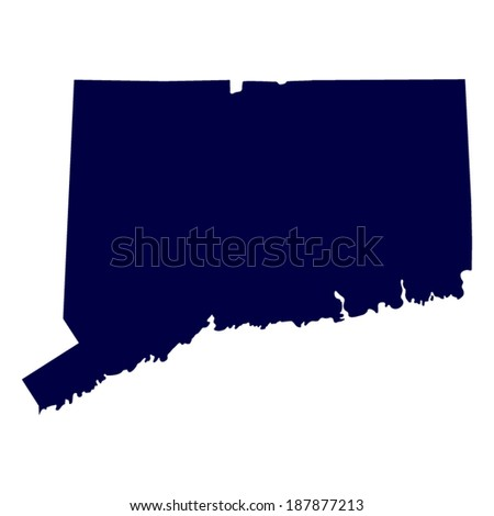 map of the U.S. state of Connecticut  - stock vector