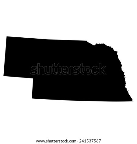 map of the U.S. state of Nebraska  - stock vector