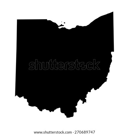 map of the U.S. state of Ohio  - stock vector