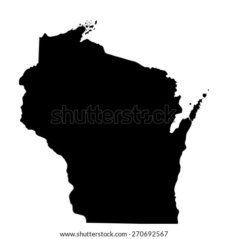 map of the U.S. state of Wisconsin  - stock vector