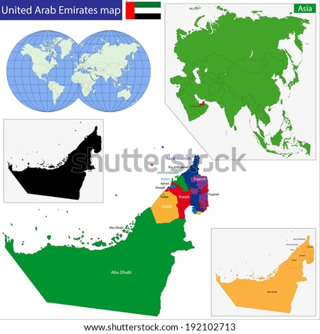 Map of the United Arab Emirates drawn with high detail and accuracy - stock vector
