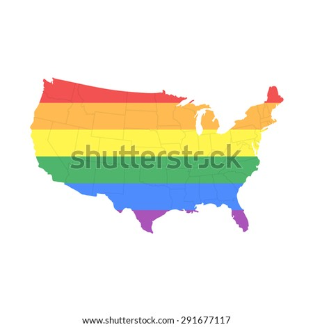 Map of The United States of America in LGBT (Lesbian, Gay, Bisexual, and Transgender) Flag Colors with States Borders - Isolated on White - stock vector