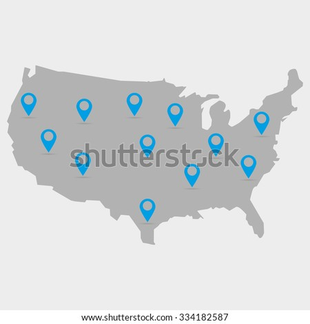 Map  of the USA in gray on a white background with markers - stock vector