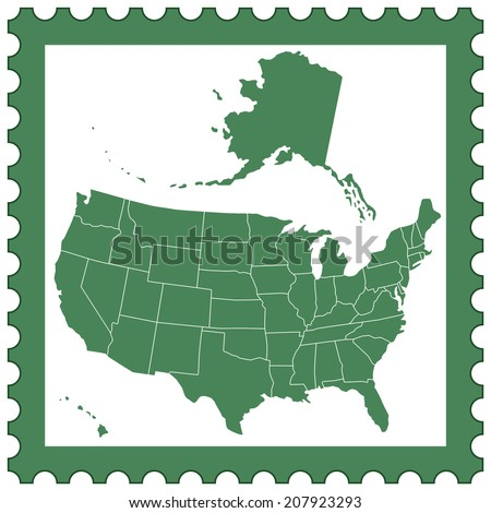 Map of the USA on the postage stamp. All objects are independent and fully editable.  - stock vector