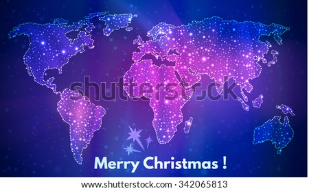 map of the world, a festive background of stellar contour continents, Christmas greetings - stock vector