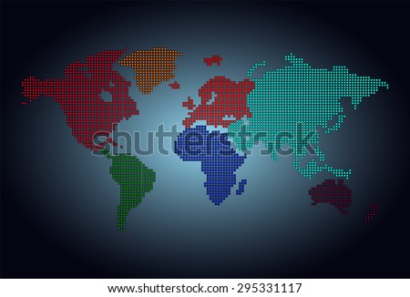 map of the world colorful pixel dark blue background. vector illustration. dot. table. square. Mosaic. ingographics. background for computer graphic website internet and technology. - stock vector