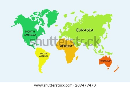 Map of the world, continents - stock vector
