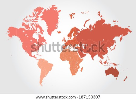 Map of the world divided into layers for each country and separated by colors per world regions for easy editing.  - stock vector