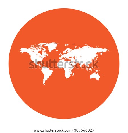 Map of the world. Flat white symbol in the orange circle. Vector illustration icon - stock vector