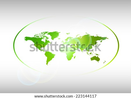 Map of the world. Green symbol of earth. Vector design. - stock vector