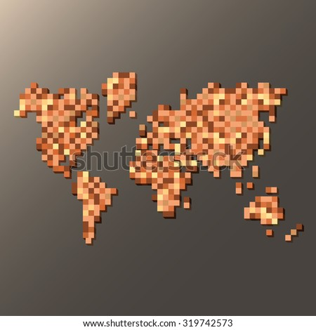Map of the World made of brown squares vector illustration - stock vector