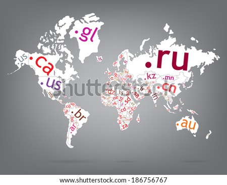 Map of the world top-level domain - stock vector
